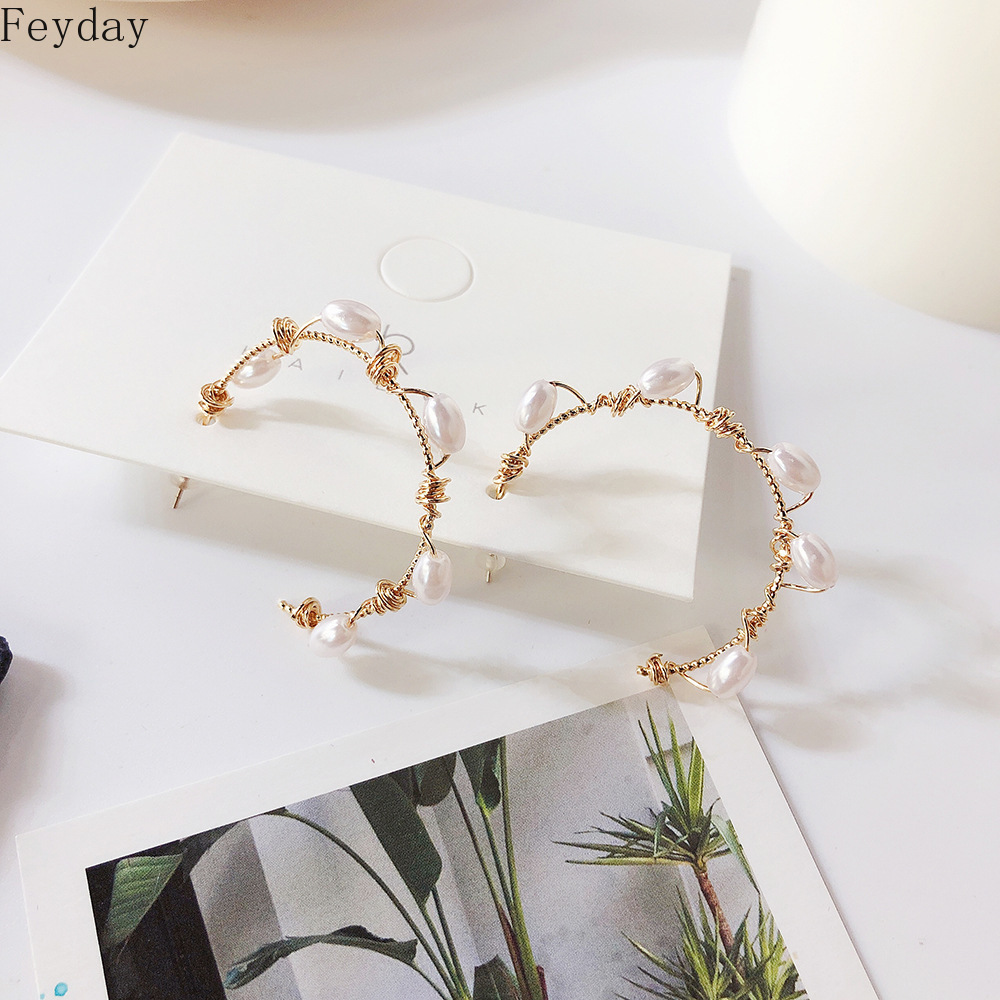Fashion Exaggerated Gold Metal Geometric Pearls Earrings Statement Joker Pearl S925 Silver Pin Women Hoop Earrings Jewelry Gift in Hoop Earrings from Jewelry Accessories