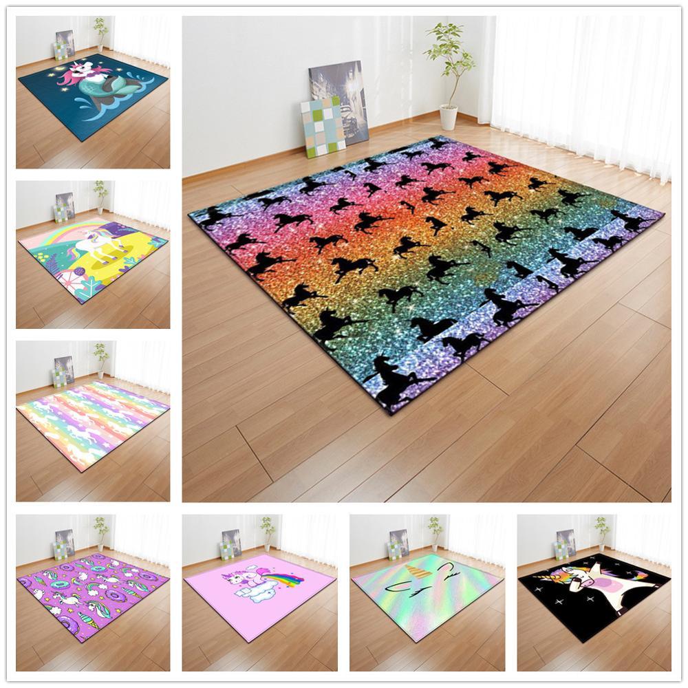 US $21.44 33% OFF|Nordic 3d Unicorn Series Carpets Cartoon Childrens  Bedroom Play Mat Soft Flannel Kids Room Area Rugs aisle runner Hallway  Carpet-in ...
