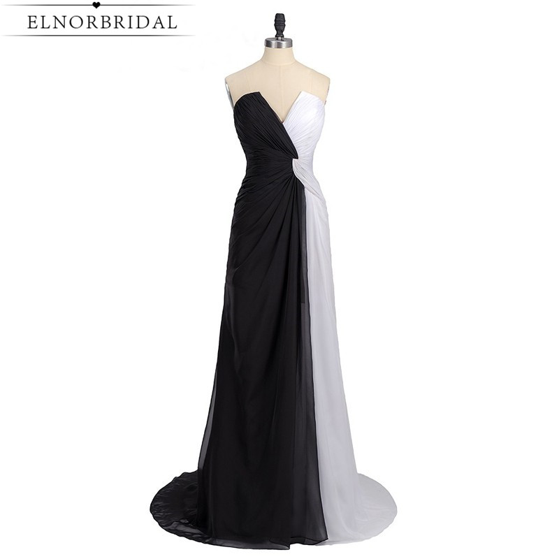 561ea0745c973 Black And White Evening Dresses Long 2017 Sexy Robe De Soiree Formal ...