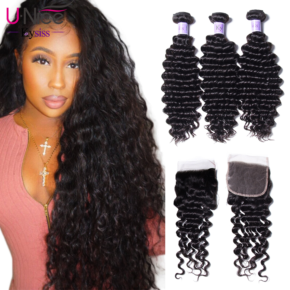 UNice Hair Kysiss Series Deep Wave Bundles With Closure 4 4 Free Part 12 26 Virgin