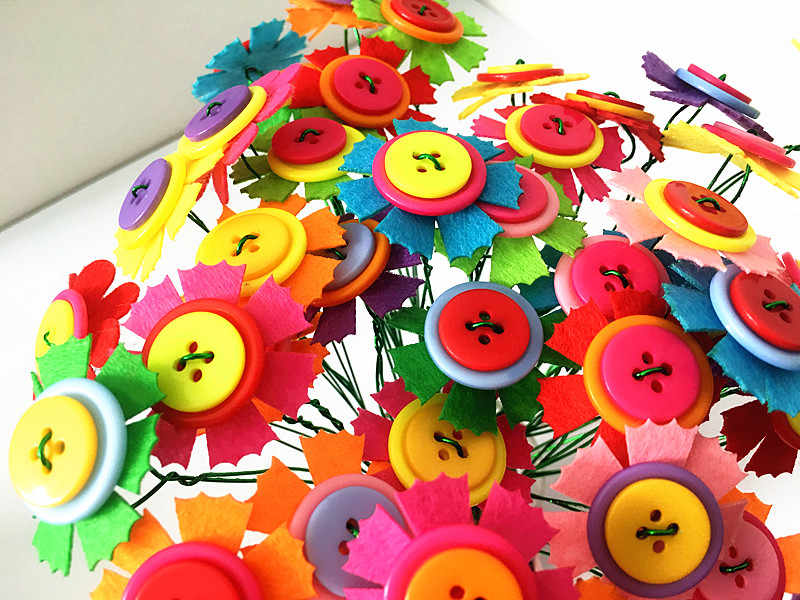 Happyxuan 2 комплекта DIY Войлок кнопка цветок букет детский сад наборы дети обучающая игрушка ручной работы благодарение день подарок девушки