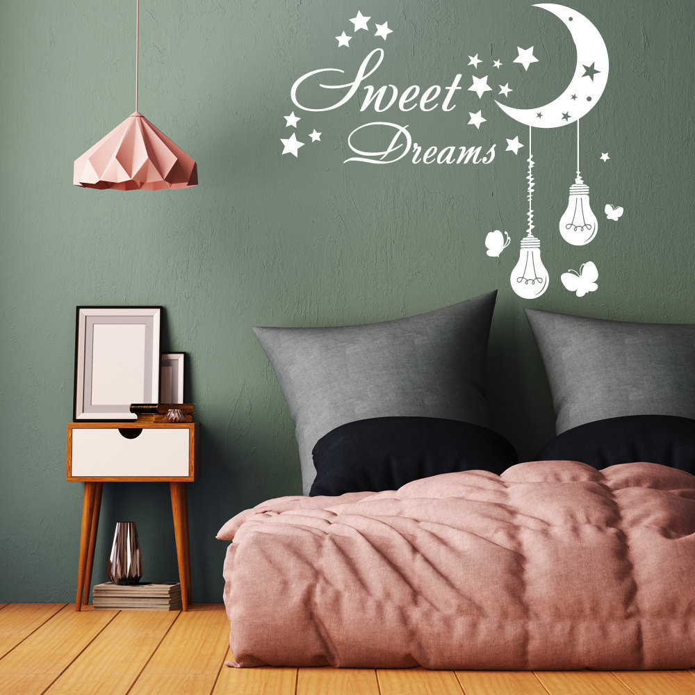 Sweet Dreams Wall Decal Nursery Moon Stars Vinyl Sticker Lights Bulb Home Decor Kids Girls Bedroom Living Room Decoration WW-112