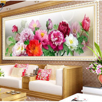 5D DIY Diamond Painting Cross Stitch Noble Peony Diamond Mosaic Flowers Home Decoration Paintings Patterns Rhinestone