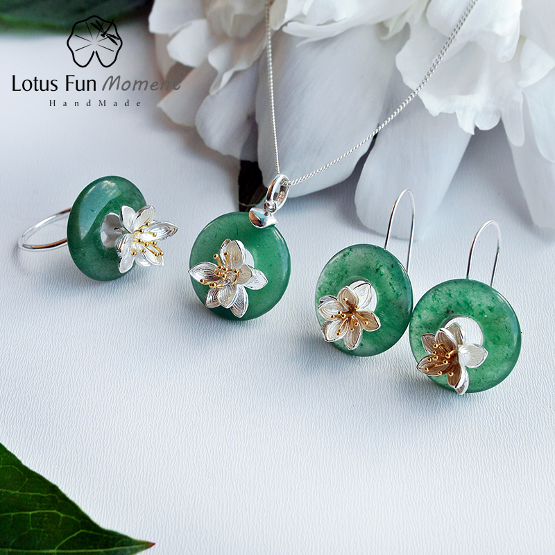 Lotus Fun Moment Real 925 Sterling Silver Natural Green Stone Creative Handmade Fashion Lotus Whispers Jewelry