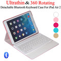 For iPad Air 2 iPad 6 Ultrathin 360 Degree Swivel Rotating Leather Case Stand Cover + Detachable Wireless Bluetooth Keyboard