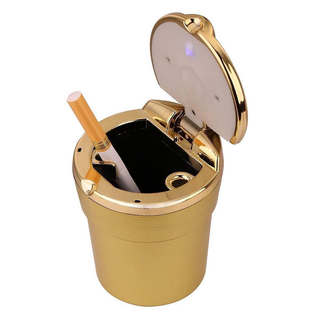 Пепельница портативный белый с держателем Золотой пепельница Путешествия Серебряный светодиодный автомобиль черный свет мусорный Синий сигареты - Название цвета: Золотой