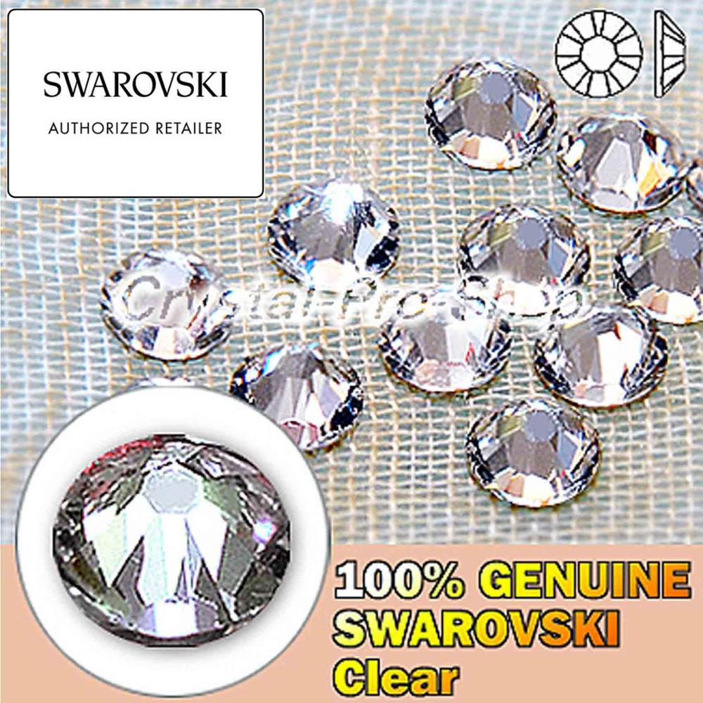 Elementos swarovski crystal clear (001) (sem hotfix/hotfix) ferro em (ss3-ss48) (1mm-11mm) strass flatback