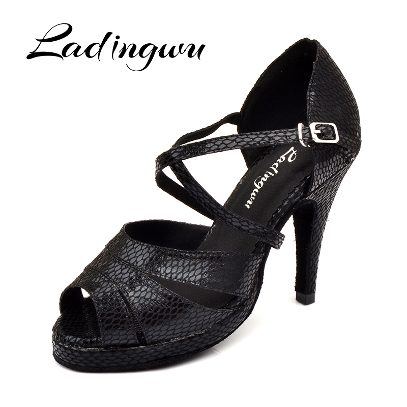 Ladingwu Dance Shoes Salsa Women Waterproof Platform Latin Dance Shoes Ladys Ballroom Tango Dance Shoes Black Snake Texture PU