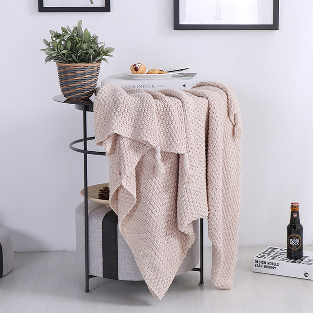 Free Shipping Christmas Gift Nordic Solid Color Multi Purposed Knitted  Cotton Throw Blanket Wrap Photography