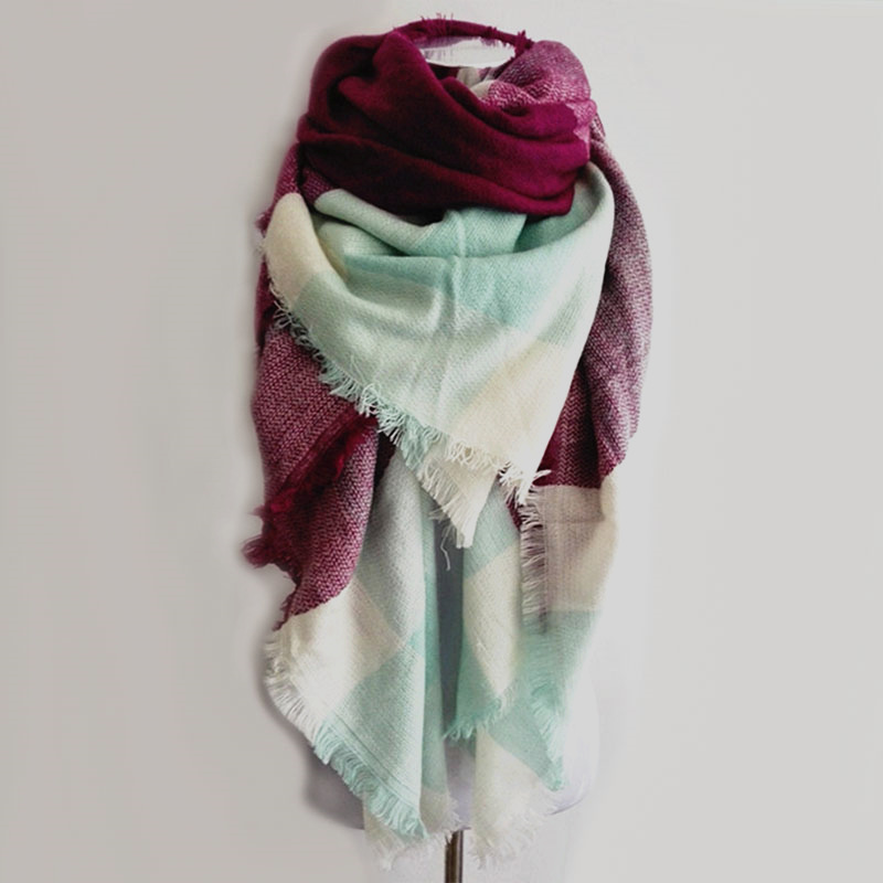 Luxury Brand Kallove halsduk za vinter stor fyrkant Scarf Plaid Women - Kläder tillbehör - Foto 2