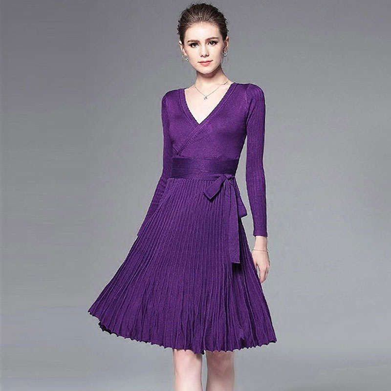 Solid Women Party Dresses Elegant 2017 Autumn Winter Dress Fashion High Waist Tunics Deep V-neck A Line Pleated Knitted Dresses
