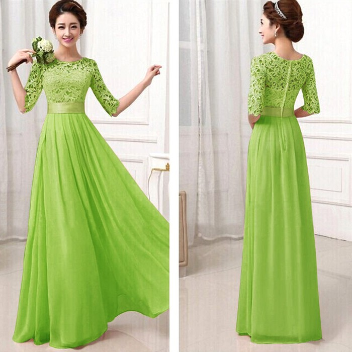 Elegant Lace Sleeve Chiffon Womens Long Formal Dress 2