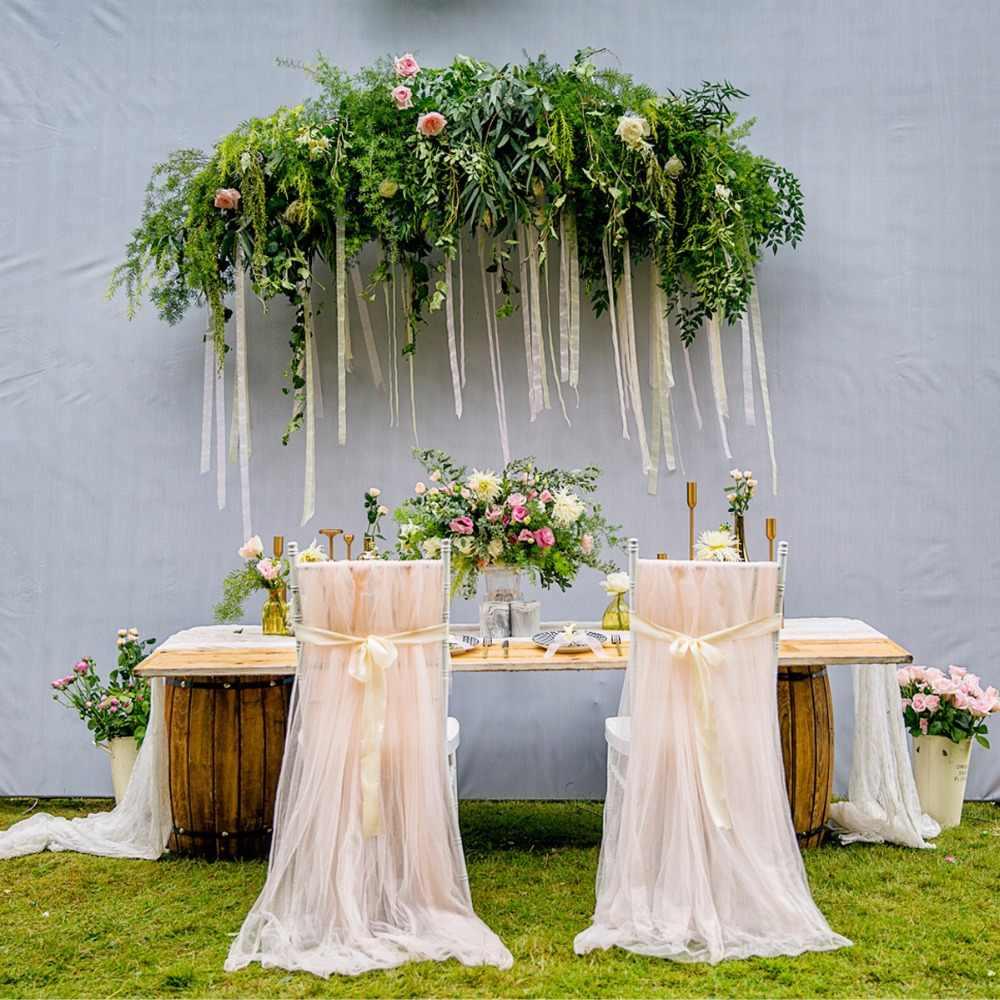 เก้าอี้จัดงานแต่งงานเก้าอี้กลางแจ้งกระโปรงยาวชีฟอง Chiavari เก้าอี้ Sash ซาตินผ้าแต่งงานงานเลี้ยงตกแต่ง