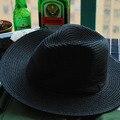 Diseño de la Mujer Sombrero de Verano de Jazz 2016 Negro Clásico Concert Party Accesorios de Ala Ancha Sombrero Sombrero de Ala Ancha Visera Señora Headdress2016031404 u2
