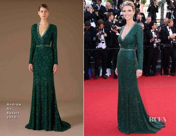 d32ab2c367aa Sylvie Tellier In Andrew Elegant Long Sleeves V Neck Zuhair Murad Style  Green Sequins Evening Dress Red Carpet Celebrity Dresses