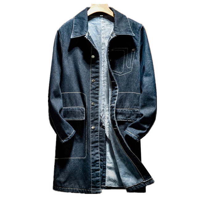2019 autumn and winter fashion new men's casual long denim jacket / Men's cowboy trench coat