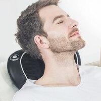 Cordless Neck Shoulder Massage Pillow Infrared Heating Electric Massager Back Body Waist Shiatsu Kneading Massage Wireless Use