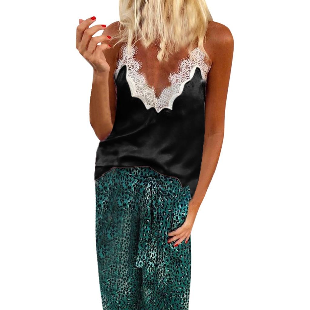 Damentaschen Verantwortlich Mode Crop Top Frauen Sexy Tiefem V-ausschnitt Lace Up Patchwork Ärmel Camis Crop Tops Dame Sommer Kleidung Camiseta Tirantes Geschickte Herstellung