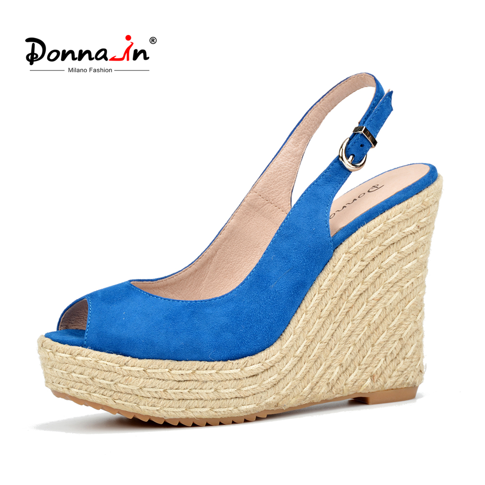 Donna-in 2018 Summer Genuine Leather Women Sandals High Heels Platform Wedge Shoes Open Toe Fashion Ladies Sandals candy color genuine leather vintage style women casual sandals 2017 designer open toe platform wedge handmade summer shoes