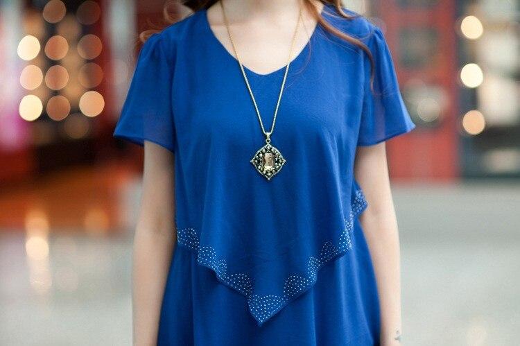Vestido De Festa Summer Dresses 5XL Plus Size Women Clothing ropa mujer 18 Chiffon Dress Party Short Sleeve Casual Blue Black 15
