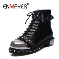 ENMAYER Punk Genuine Leather Boots Women Rivets Square Heels Autumn Winter Ankle Boots Sexy Shoes Woman