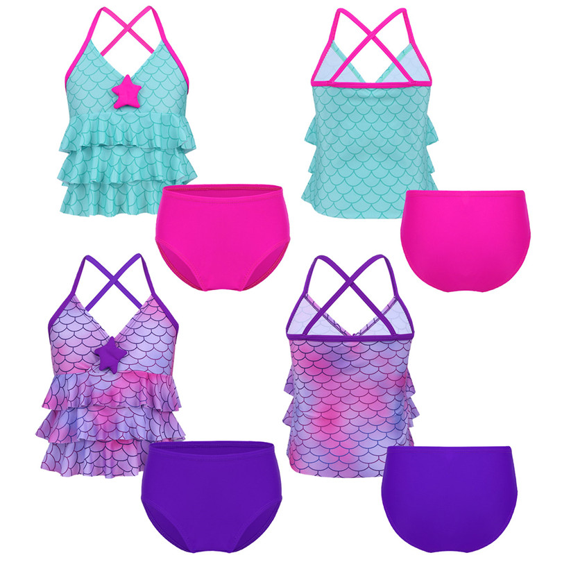 7a0ad80a7 New Arrival Girls Tankini Mermaid Scales Printed Bikini Swimsuit Swimwear  Bathing Suit Set Tops with Bottoms Kids Summer Outfits on Aliexpress.com