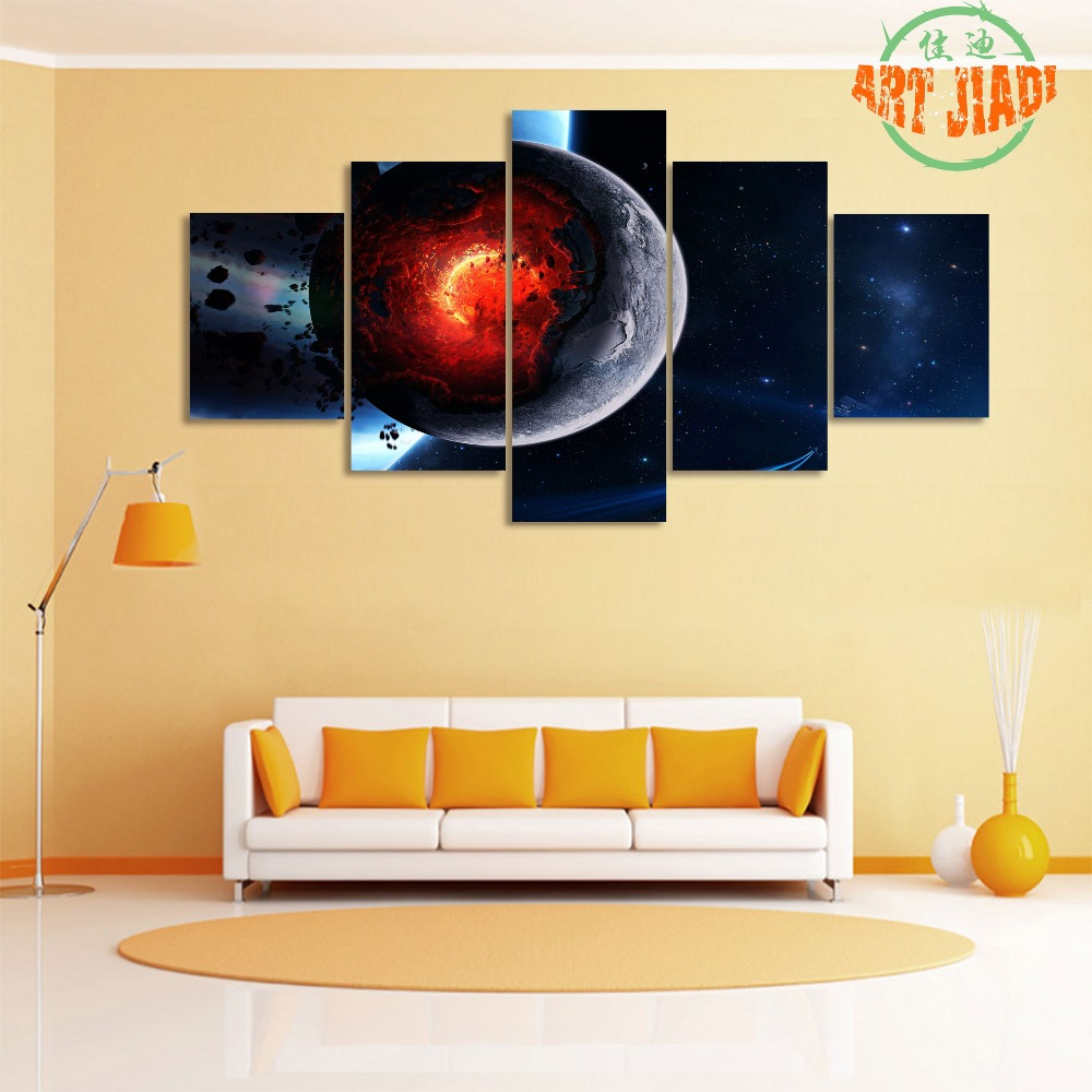 5 Pieces/sets Canvas Art Mars and the Moon And of the Planet Canvas ...