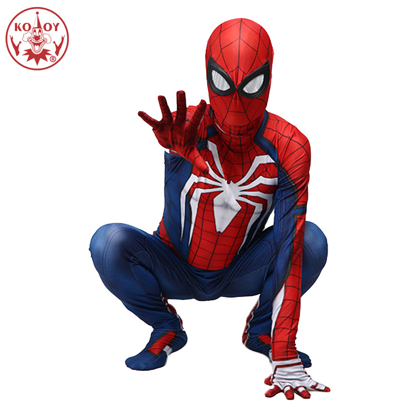 KOOY ps4 insomniac spiderman costume Spandex Games Spidey Cosplay Halloween Spider-man Costumes For Adult cosplay Free Shipping