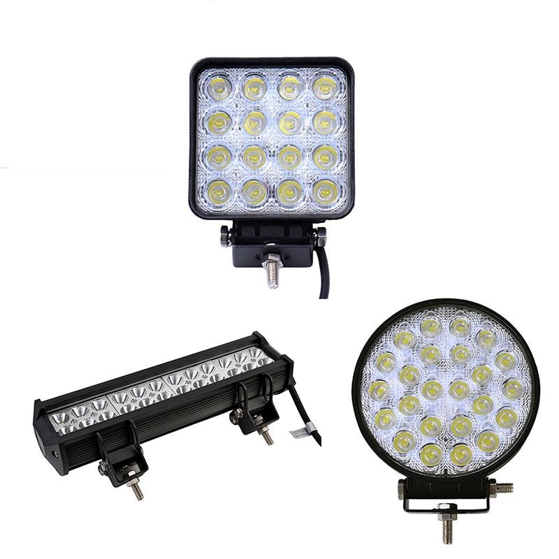 2Pcs Square Round Led 48W 36W 72W Led Work Light Off Road Car Led Light Bar Spot Flood Light 12v 24v Car LED Worklight