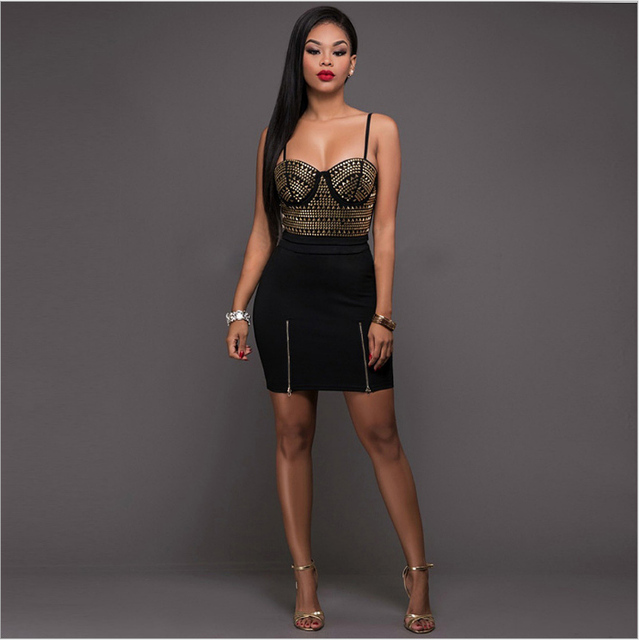Sexy Sparkly Dresses Halter Deep V Neck Lace Up Crop Top Two Piece Set  Summer Party Dress Hot drilling sexy bandage dress e92582364e57