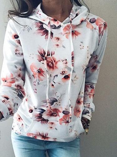 148cdafc7f US $8.4 16% OFF|Hot Fashion Women Warm Hoodies Ladies Floral Sweatshirt  Hooded Fleece Fabrics Coat Jumper Pullover Printed Tops Sweatshirts-in  Hoodies ...