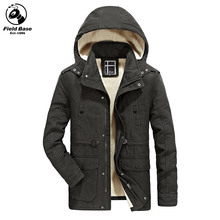 Field Base Autumn Winter Jacket Men Casual Hooded Men Jacket Coats Thick Warm Parka Faux Fur Winter Coats Size L-3XL JOB8705