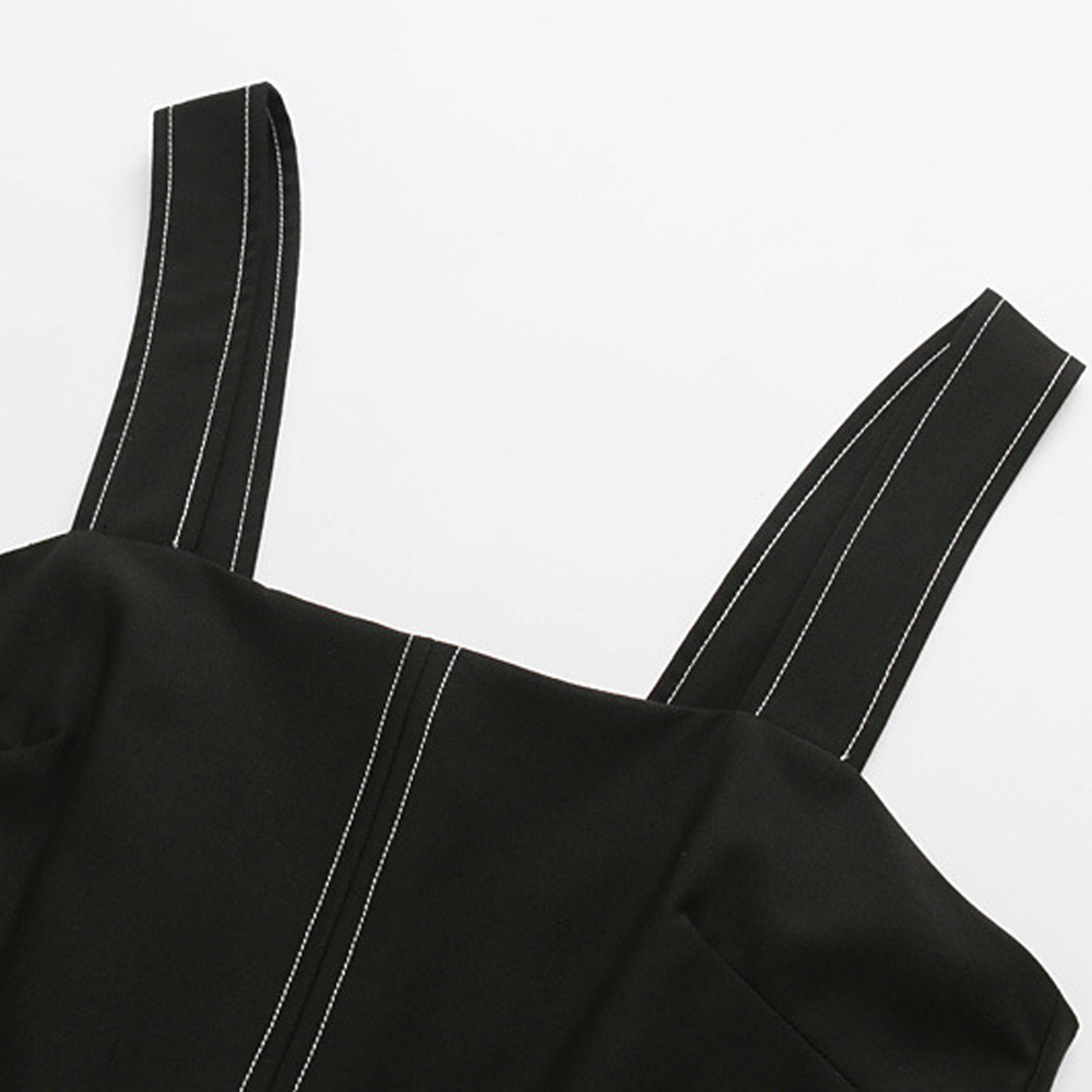 TXJRH Trendy Black Waist Bow Tied Sashes With Belt Spaghetti Strap Wide Leg Short Bodysuit Overalls Fashion Women Slim Playsuits