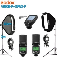 Photo Studio Kit Photography Lighting 2PC GODOX V860IIF + Xpro-F + 2PCS* 60*60CM Softbox +2PCS 2m Light Stand Photo Soft Box