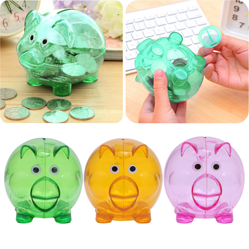 Pink-day Plastic Clear Piggy Bank Pink Coin Money Cash Openable Saving Box for Kids Lovely Pig Gift