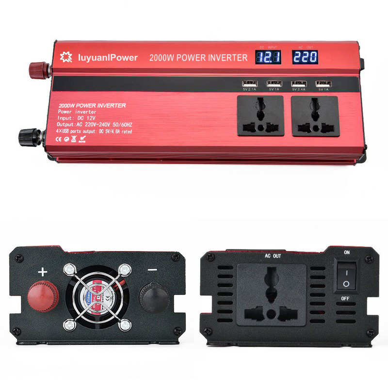2000 watt DC 12V to AC 220V power inverter converter charger 4 USB ports with LED