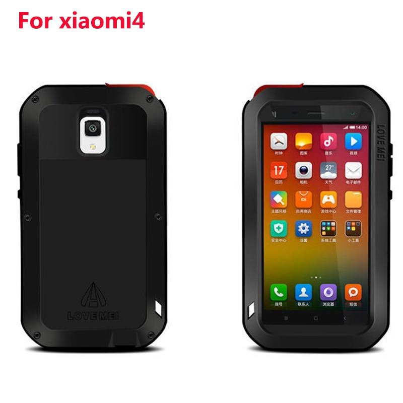 For Xiaomi Mi4 LOVE MEI Powerful Waterproof Shockproof Dirtproof Aluminum Cases Metal Cover for Xiaomi mi