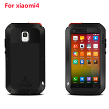For Xiaomi Mi4 LOVE MEI Powerful Waterproof Shockproof Dirtproof Aluminum Cases Metal Cover for Xiaomi mi 4  with Glass
