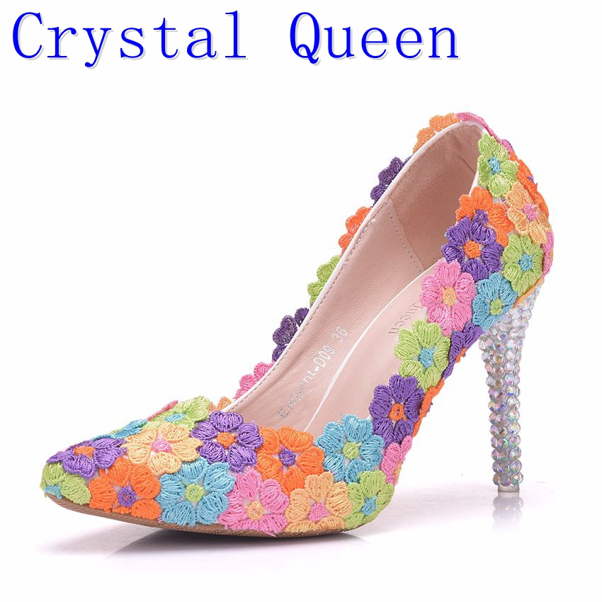 separation shoes various design new product US $33.6 30% OFF|Crystal Queen Colorful Lace Flower Wedding Shoes  Multicolor High Heel Banquet Pumps Handmade Cinderella Prom Party Woman  Shoes-in ...