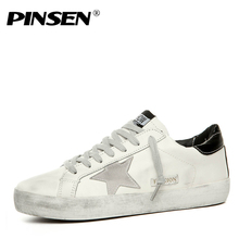 PINSEN Shoes Men Sneakers Casual Leather Do Old Dirty Shoes man Flat  Sequins Star Golden Glitter 3c839f9d644c