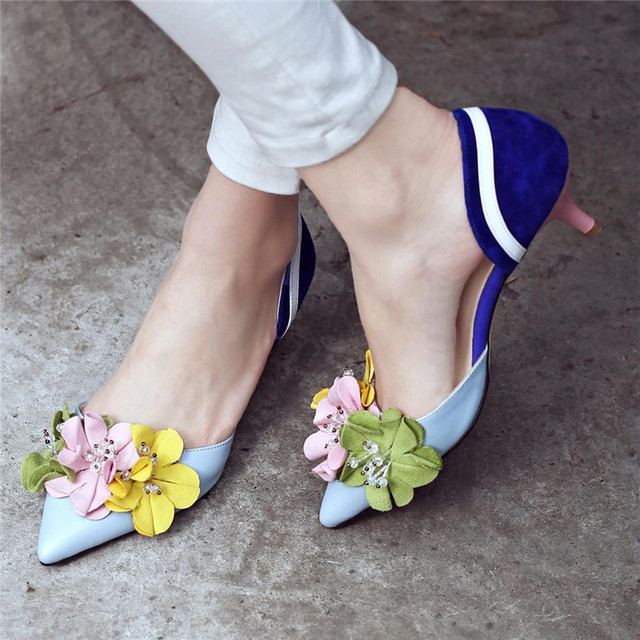 flowers spell color thin pointed closed toe designer fashion elegant simple shoes 1