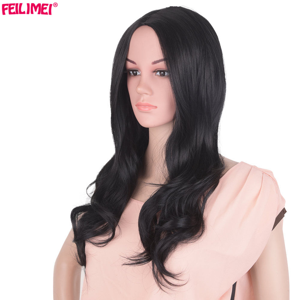 Synthetic None-lacewigs Anxin Long Curly Pink Red Wigs For Women Middle Parting Full Head Synthetic High Temperature Heat Resistant 24 Inches Cosplay