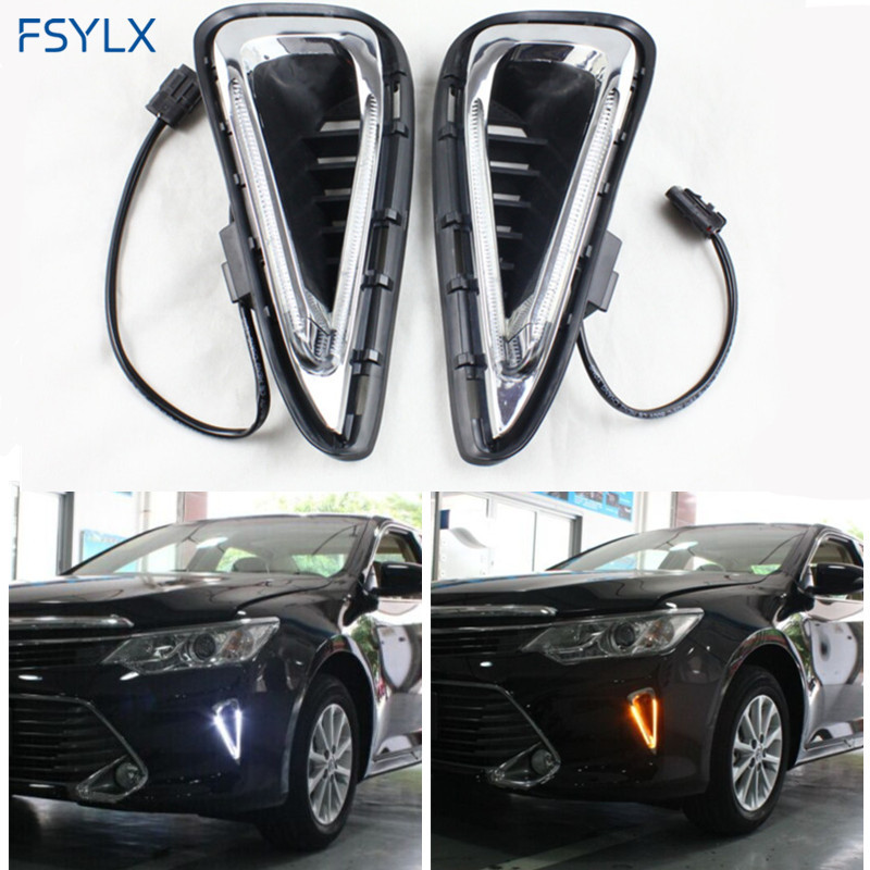 FSYLX Camry LED daytime running lights DRL turn signal light White Yellow Car LED DRL fog lights lamp LED DRL for Toyota Camry 2pcs waterproof white and yellow car headlight cob led daytime running lights drl fog lights with turn signal light in russia