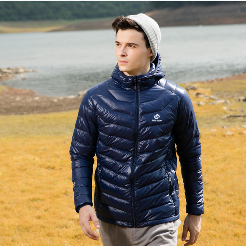 Мужской Сверхлегкий пуховик, однотонный, с капюшоном, ветрозащитный, теплый, тонкий, для катания на лыжах, для зимы