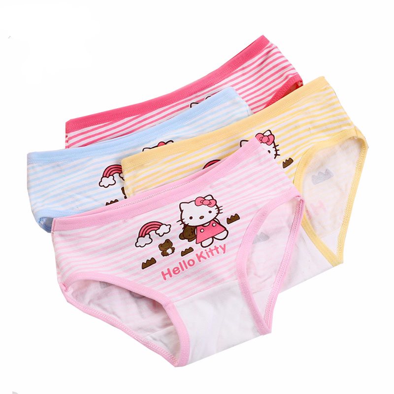 4pcs/lot new fashion kids panties girls' briefs female child underwear lovely cartoon panties children clothing