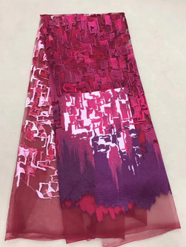 Red Tulle Embroidered Net Lace African French Laces Fabrics High Quality Nigerian French Net Lace 2018 With Wedding Party AFFJF