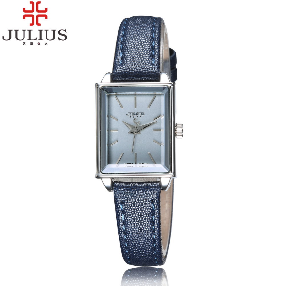 2016 Newest Julius Brand Mini Rectangle Dial Women Lady Dress Watch Leather Fashion Girl Casual Wristwatch