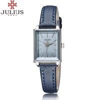 2017 nieuwste julius merk mini rechthoek dial vrouwen lady jurk horloge lederen mode meisje casual horloge relogio feminino gift