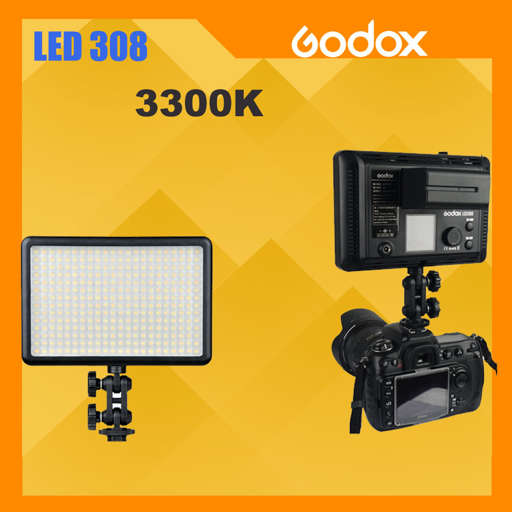Godox LED308Y 308 3300K LED Video Light Lamp for Sony Panasonic Canon Nikon DV Camcorder DSLR Camera godox led 308y 308 leds professional led video 3300k light with remote control for canon nikon camera dv camcorder