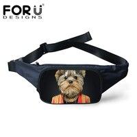 FORUDESIGNS Cute Pet Dog Printing Waist Bags For Women Men Casual Fanny Packs Small Shoulder Bags